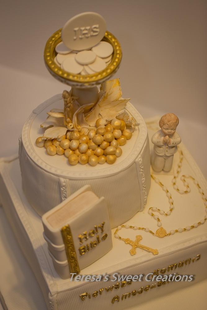 First holy communion cake with chalice and bible all edible and handmade by me - Holy communion cake decorations ...