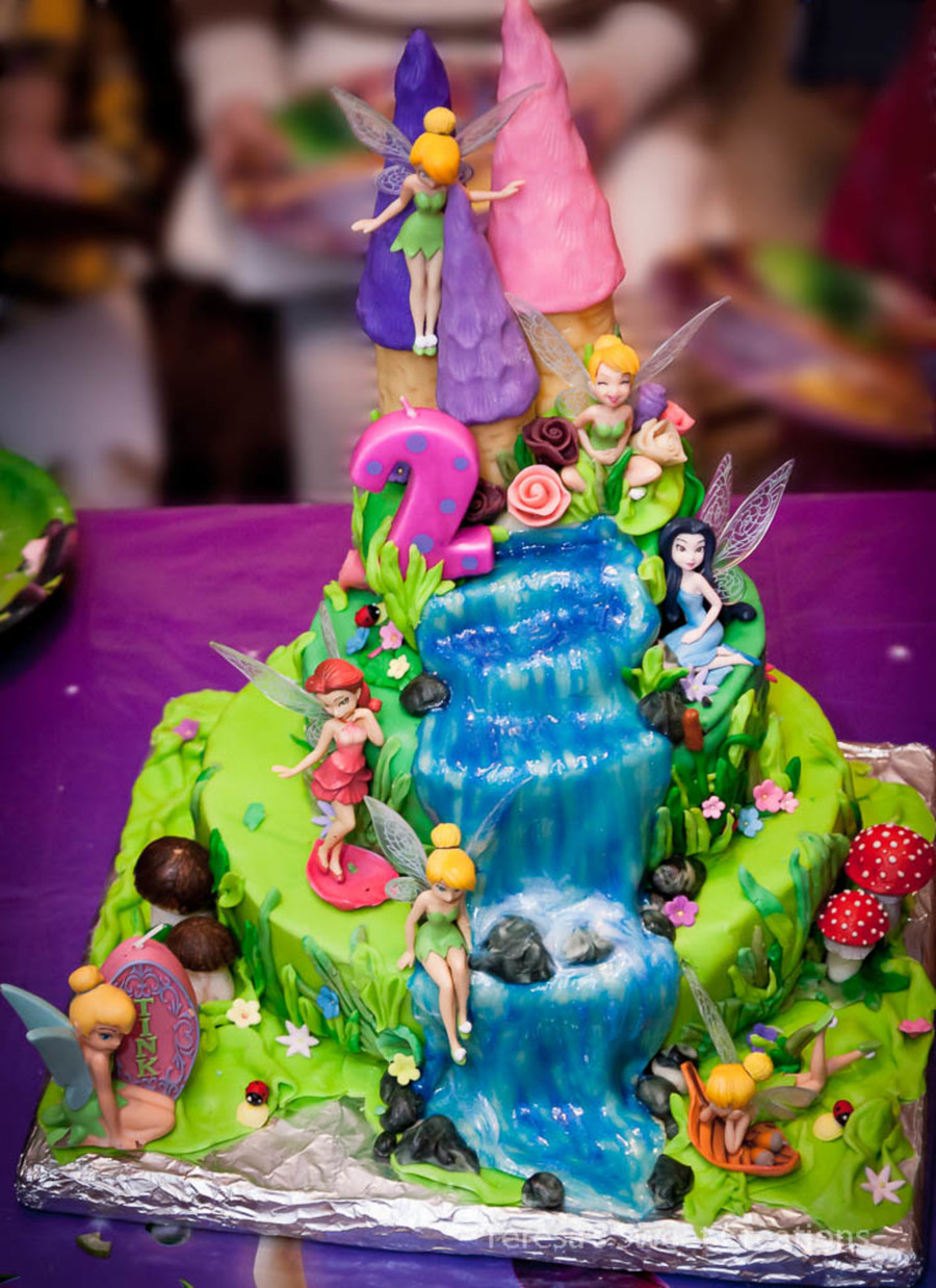 Tinkerbell Cake With Castle And Waterfall Cakecentral Com