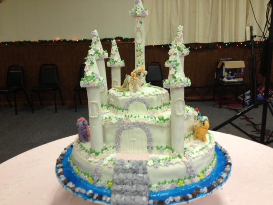 Little Ponies Castle Birthday Cake on Cake Central