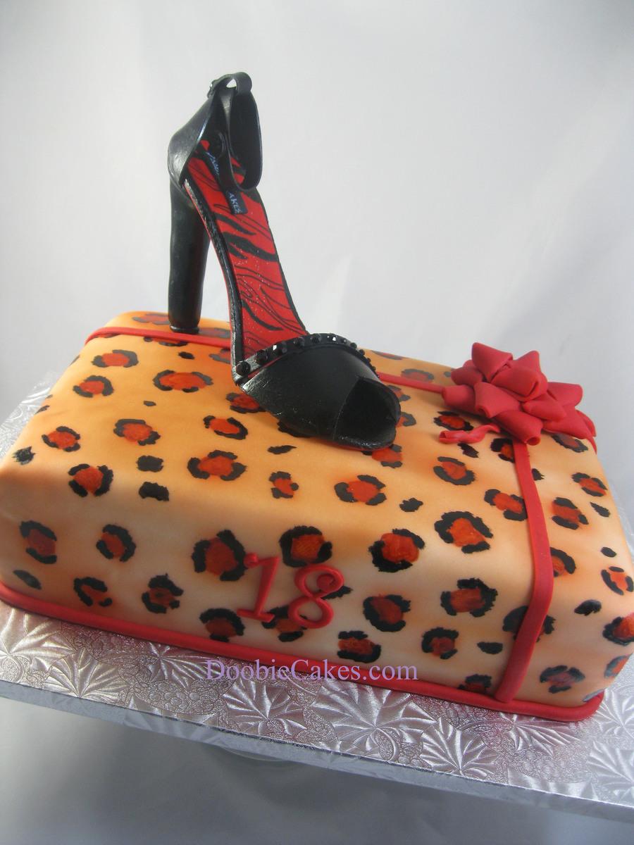 Gumpaste Shoe On Animal Print Cake And Fondant Bow on Cake Central