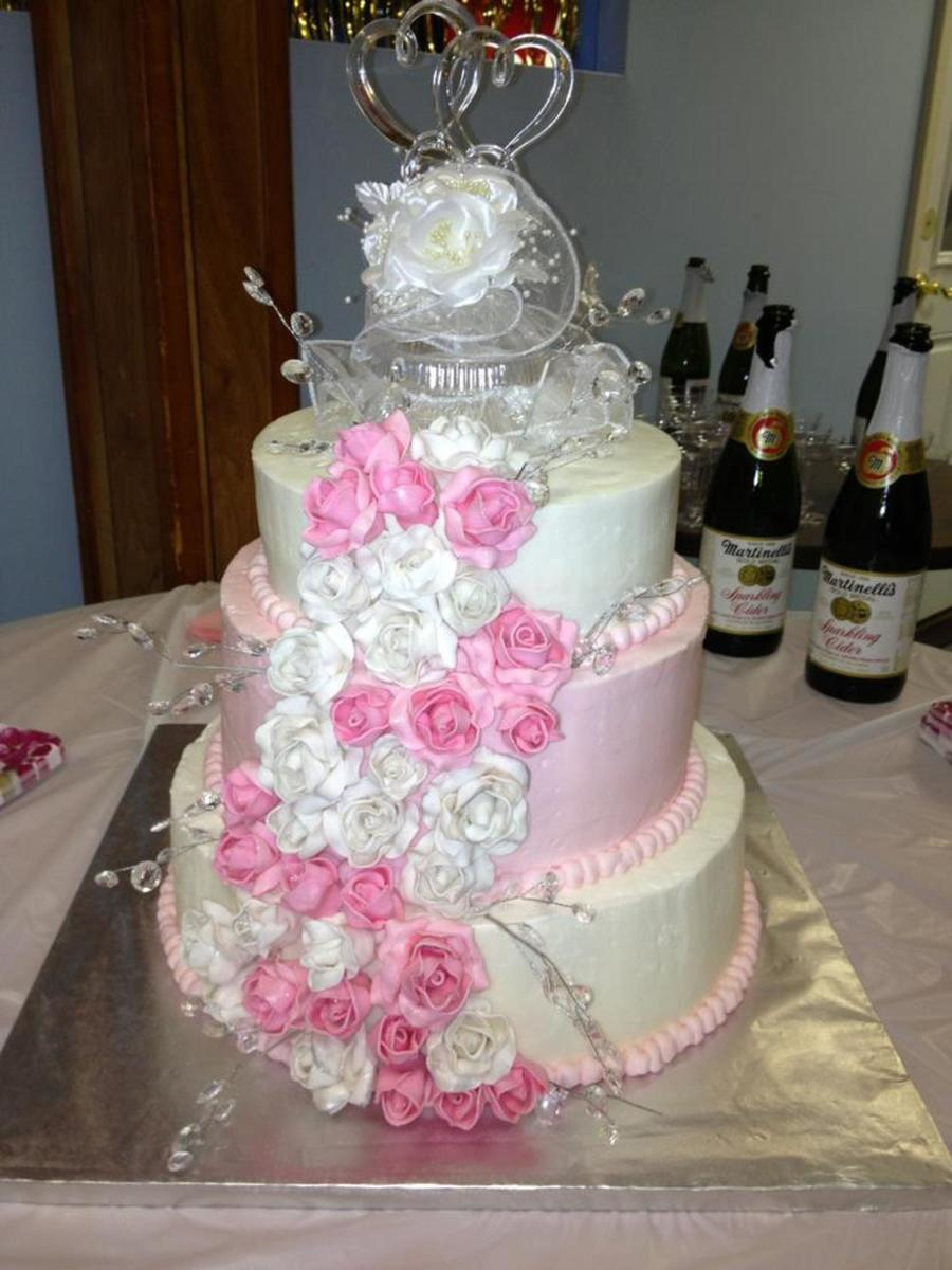 3 Tier Round Wedding Cake With Hand Made Pink And Purple Gum Paste Roses on Cake Central