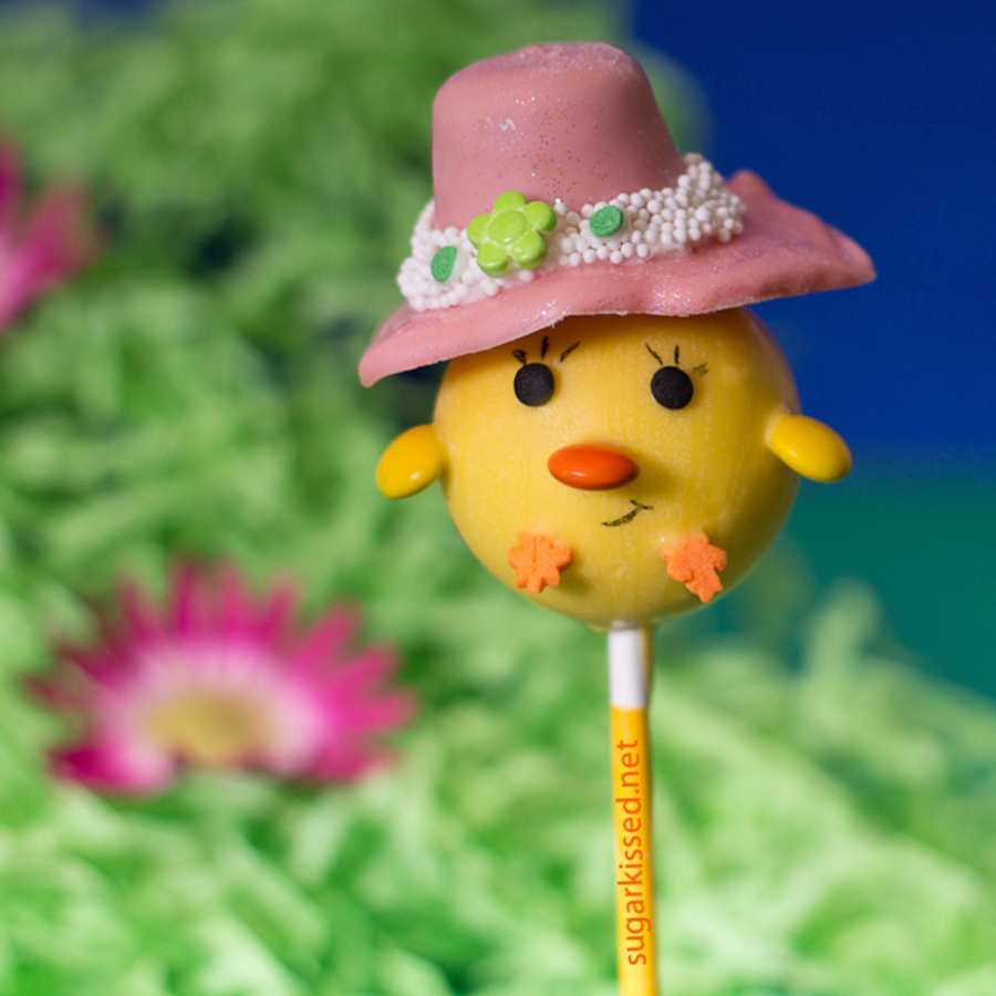 Chick Cake Pops With Bonnets on Cake Central
