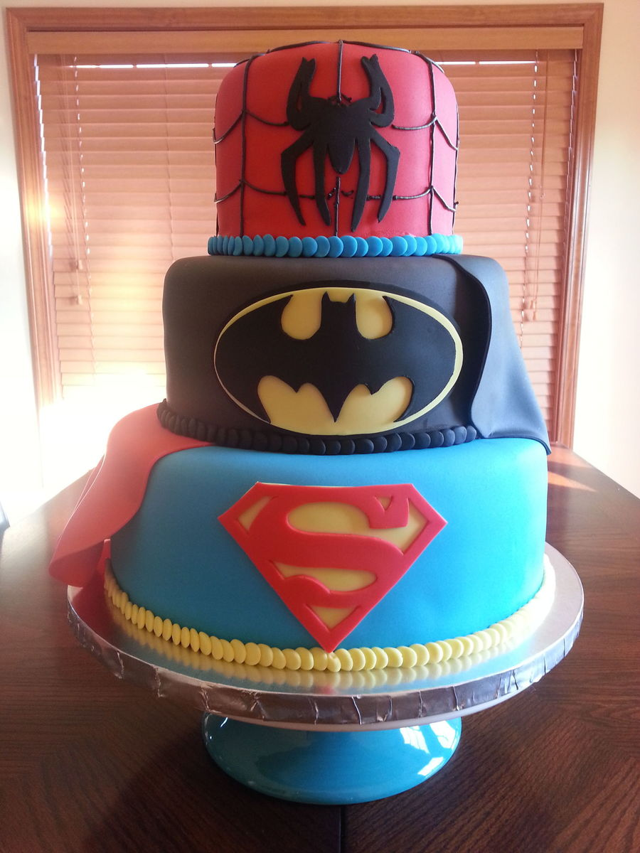 Superhero Cake Superman Batman And Spiderman Themed Cake