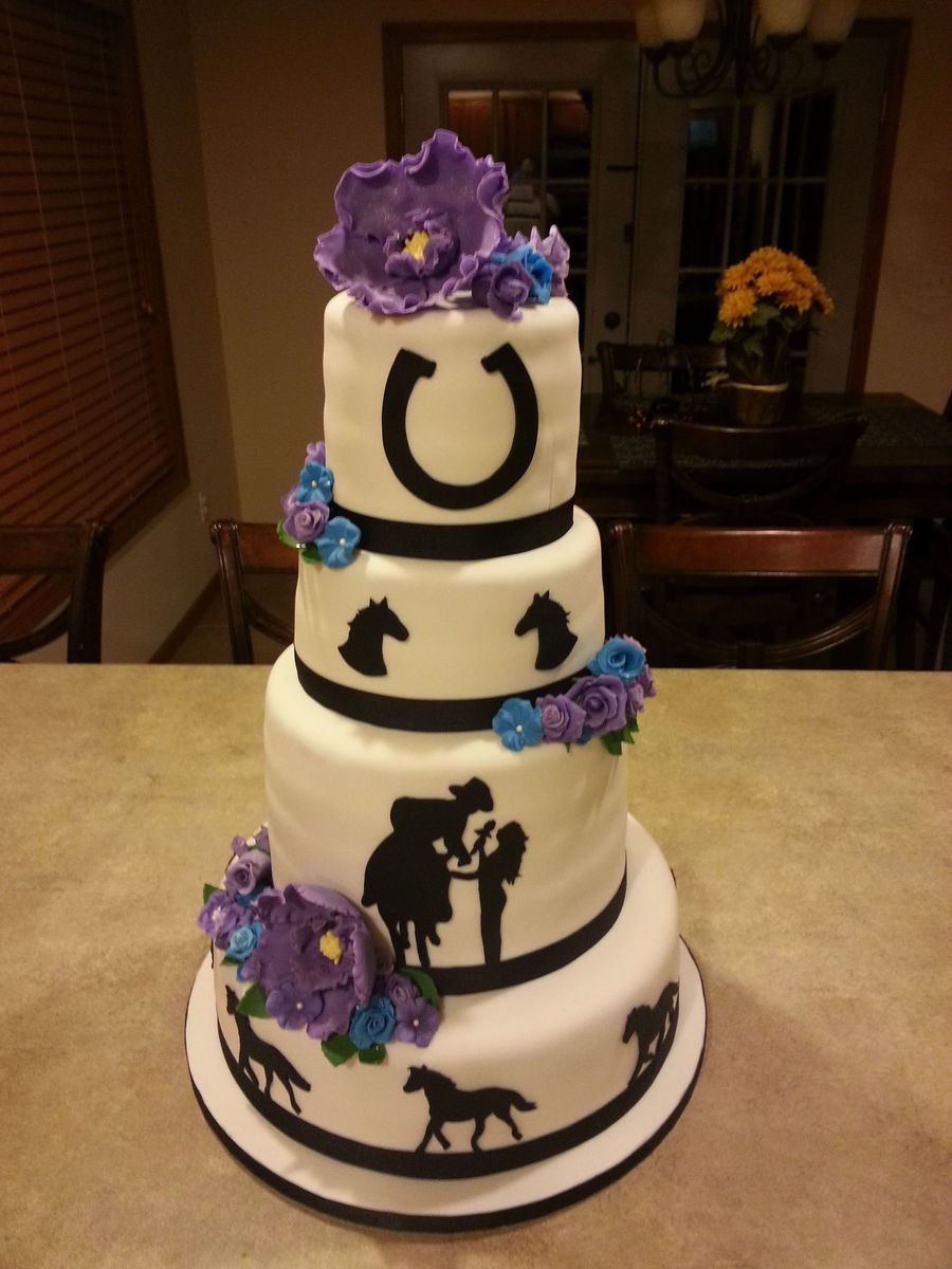 Horse Themed Wedding Cake on Cake Central