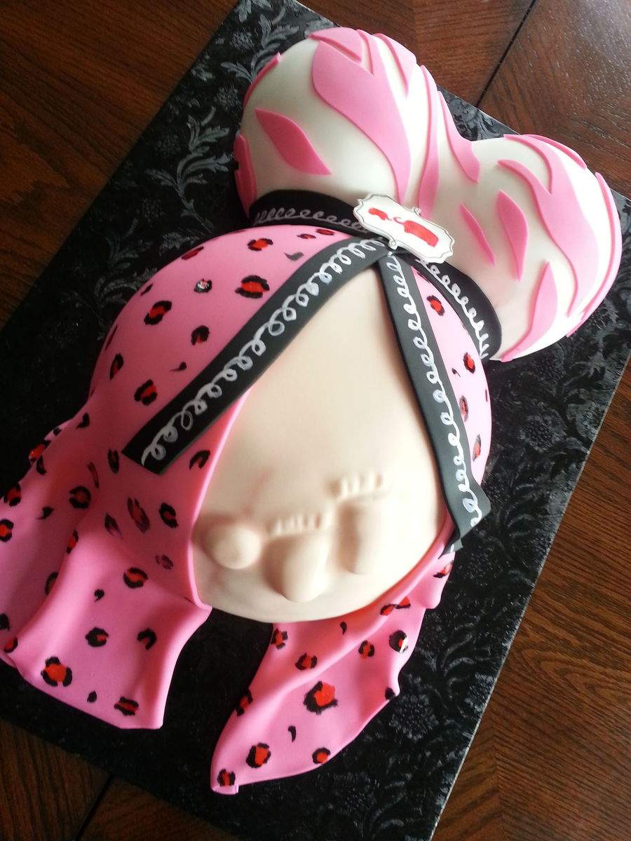 Pregnant Belly Cake With Tiny Feet Zebra And Leopard Print