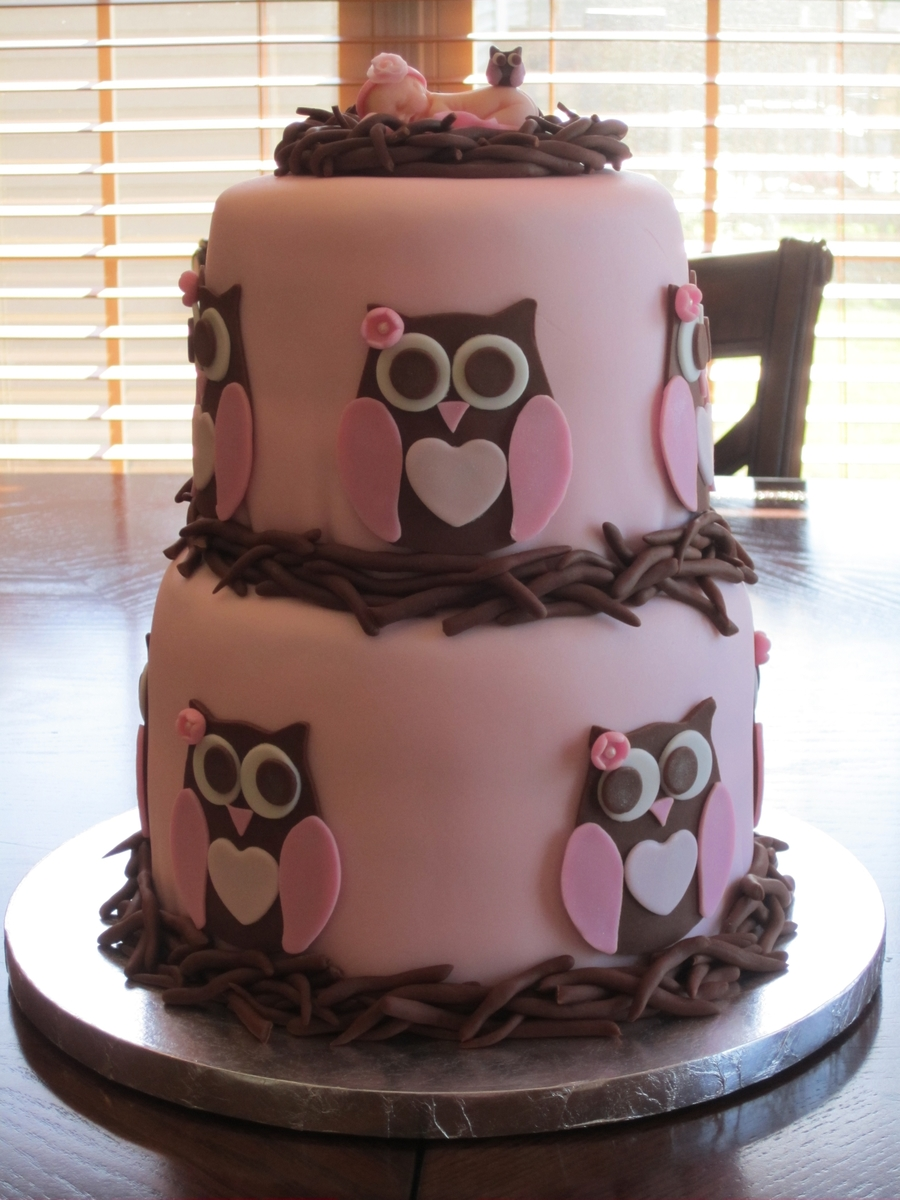 Pictures Of Baby Shower Cake For A Girl : Owl Baby Shower Cake - CakeCentral.com
