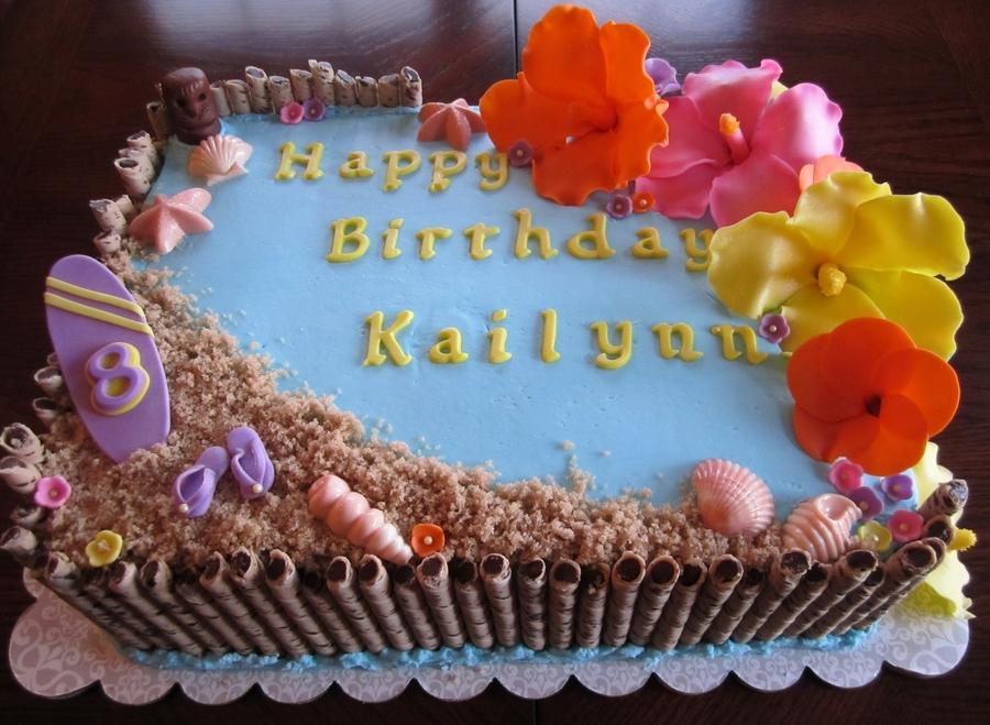 Hawaiian Themed 1/2 Sheet Cake - CakeCentral.com