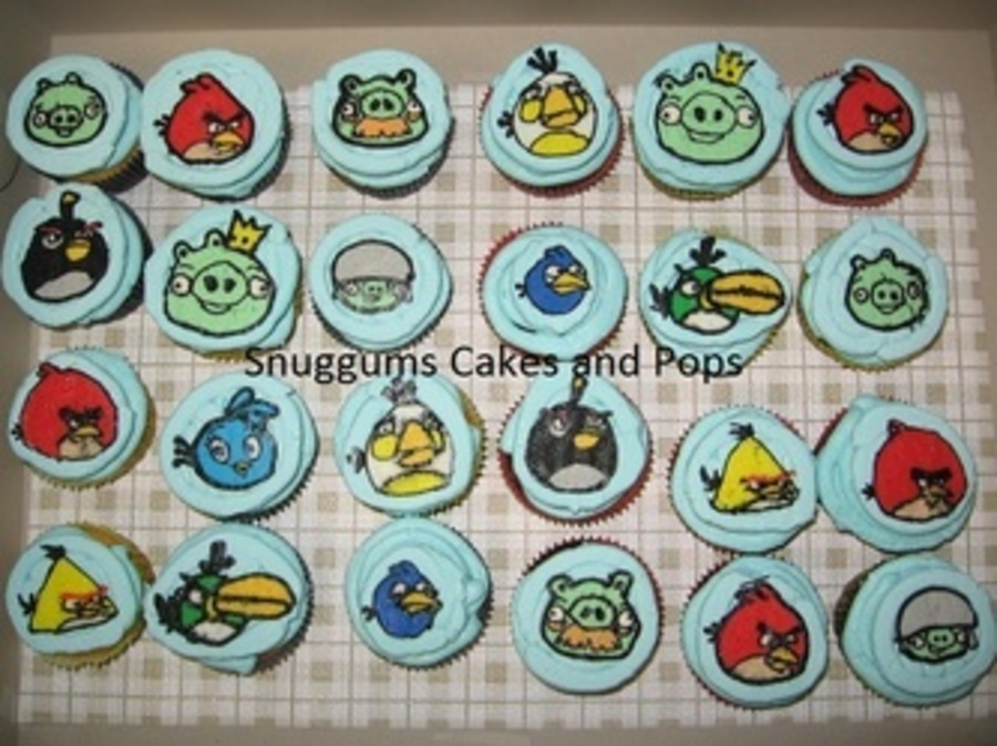 Buttercream Transfer Angry Bird Cupcakes on Cake Central