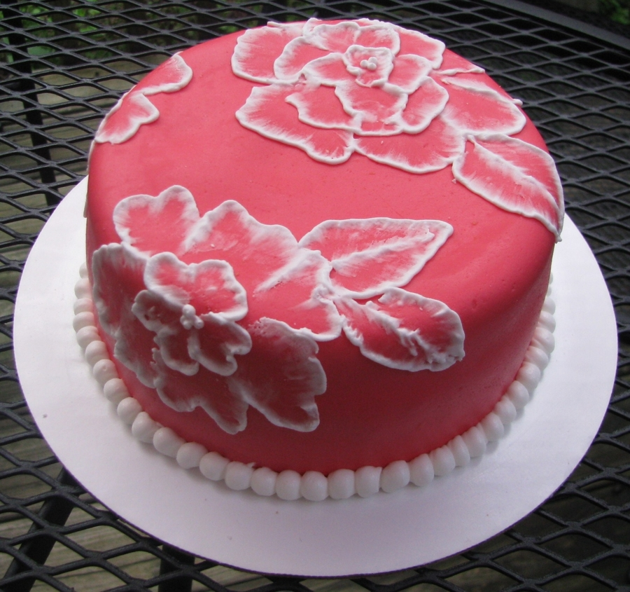 Pink Wedding Cakes With Brush Embroidery