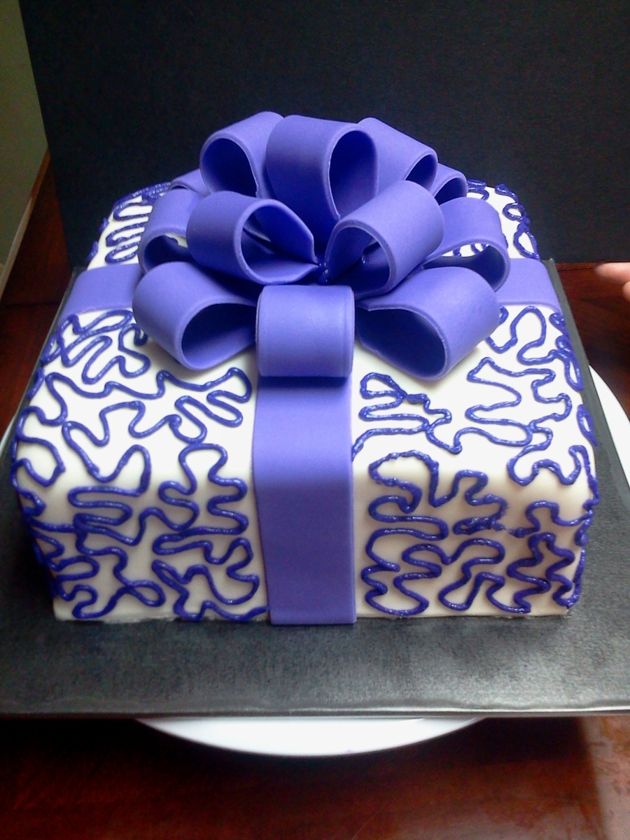Purple Gift Box on Cake Central