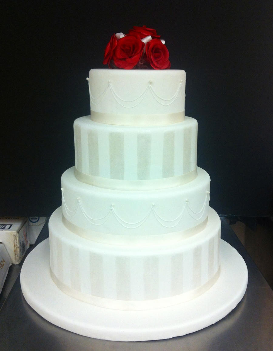 4 Tier Round Wedding Cake Topped With Gum Paste Roses on Cake Central