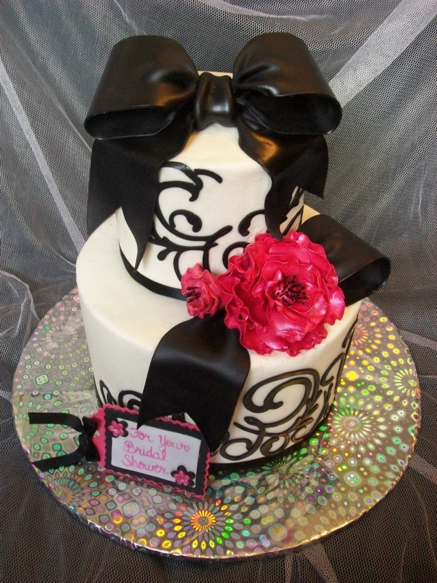 Fuschia And Black Bridal Shower Cake on Cake Central