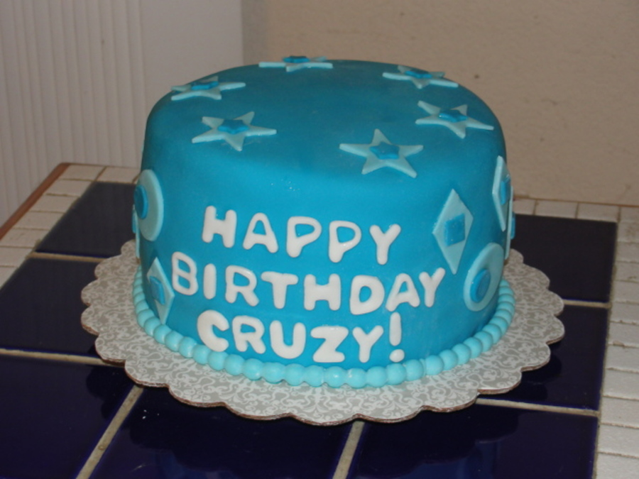 Blue Fondant Mens Birthday Cake Cakecentral