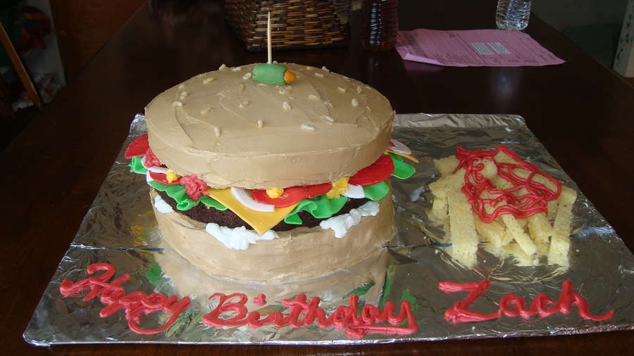 Cheeseburger Birthday Cake on Cake Central