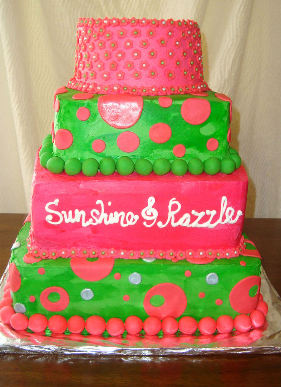 Bright Pink And Green Wedding Cake Square on Cake Central