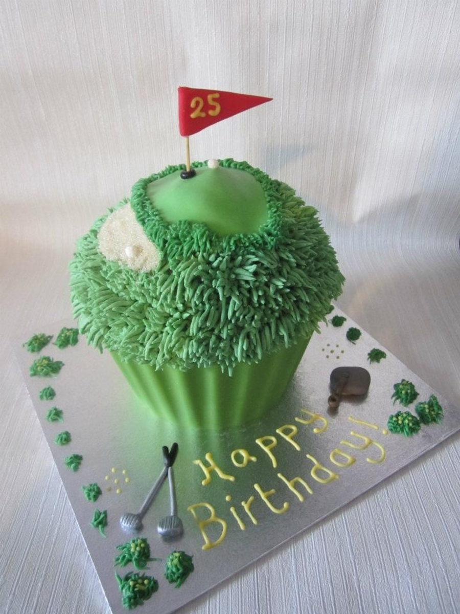 Giant Golf Themed Cupcake! on Cake Central