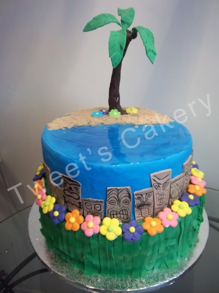 Hawaiian Theme Hula Cake  on Cake Central