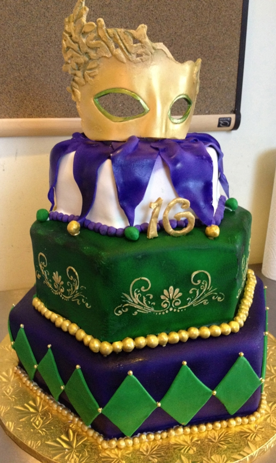 Mardi Gras Sweet Sixteen Cake on Cake Central