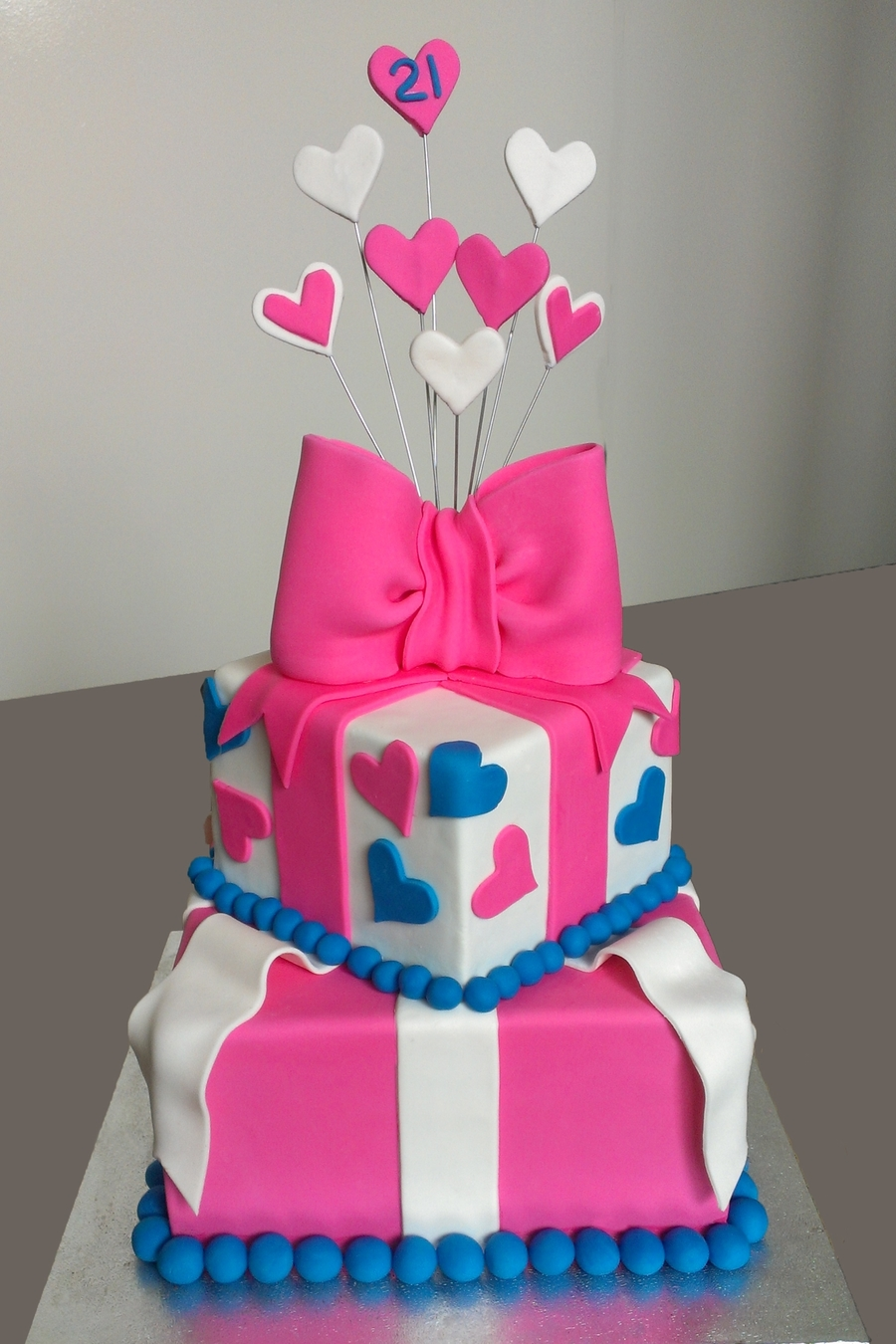 Pink Amp Blue 21st Birthday Cake Cakecentral Com