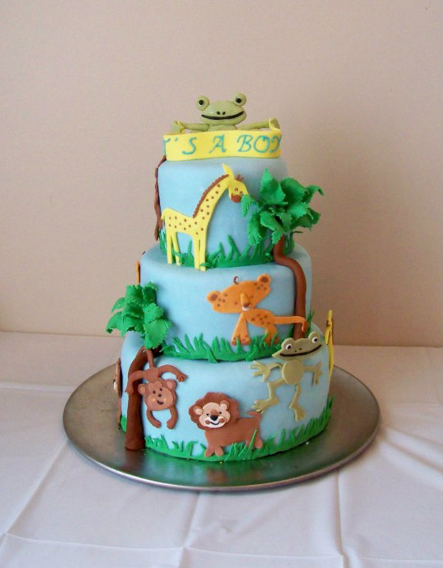 Safari Baby Shower Cake CakeCentralcom