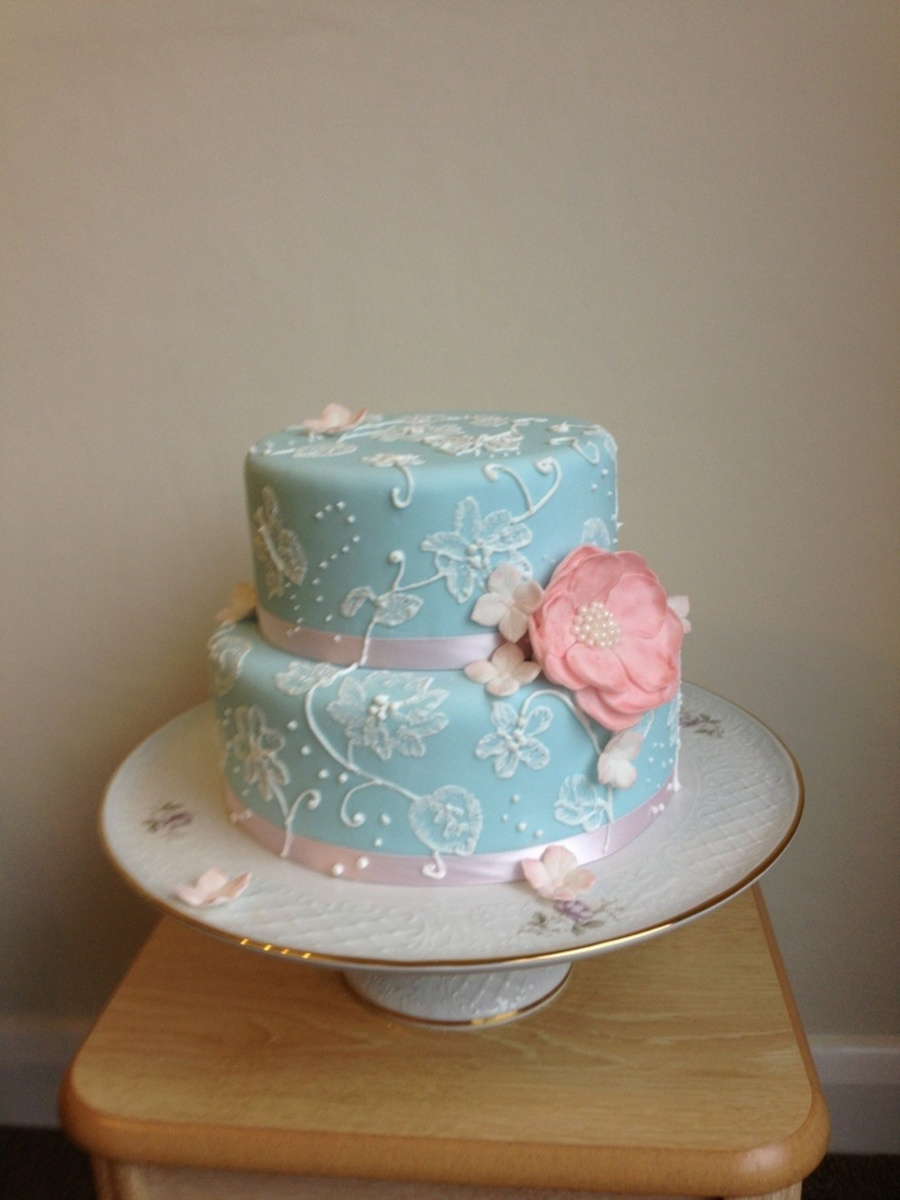 Blue And Pink Brush Embroidery on Cake Central