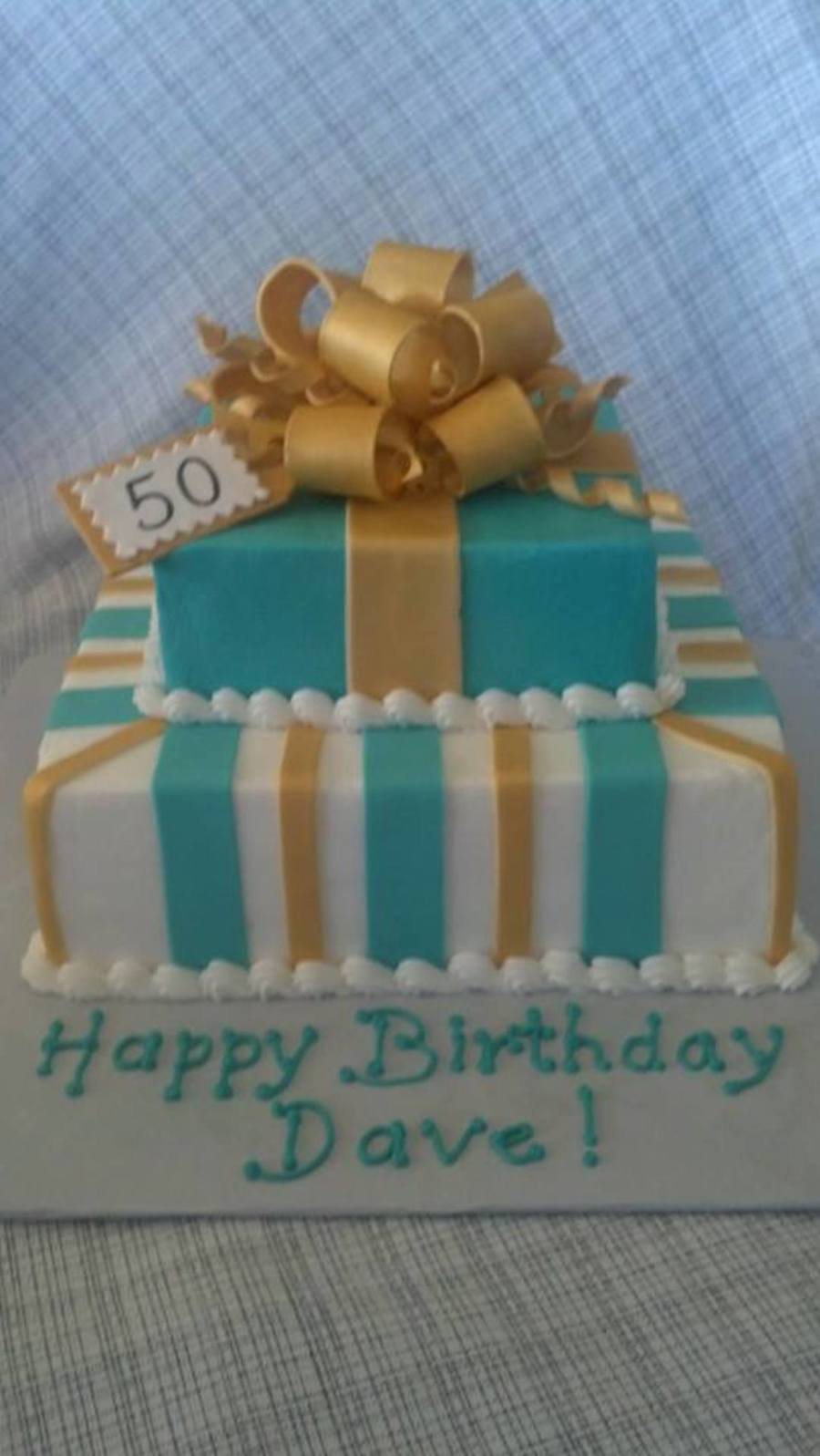 Turquoise And Gold 50Th Birthday Cake Butter Cream Icing With