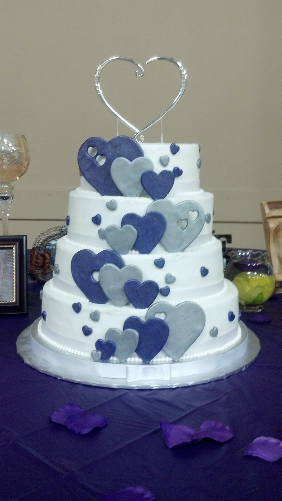 Purple And Silver Hearts Wedding Cake on Cake Central