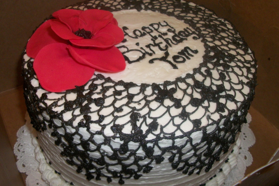 This Is An 8 Zebra Cake With White Buttercream Icing And Black Buttercream Lace The Flower Is Gumpaste on Cake Central