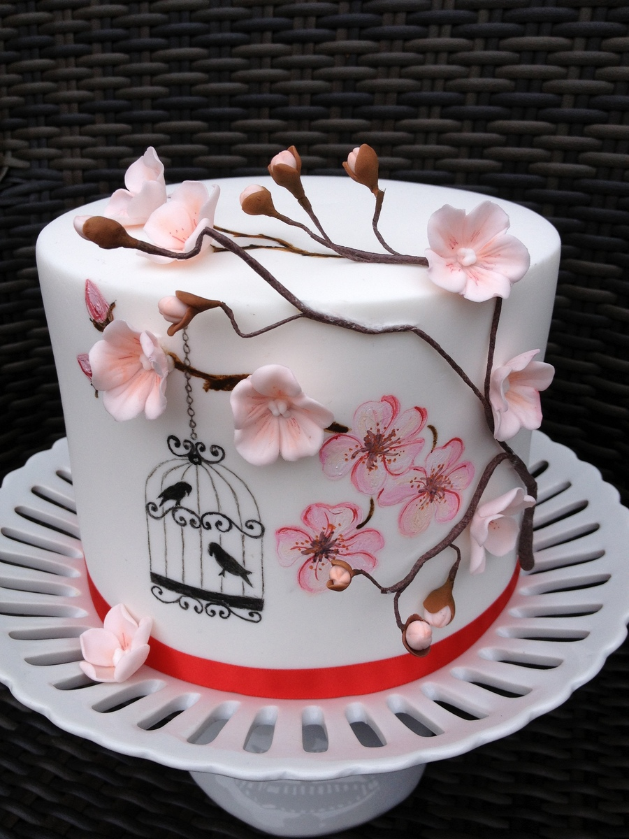 Hand Painted Cherry Blossoms And Birdcage - CakeCentral.com