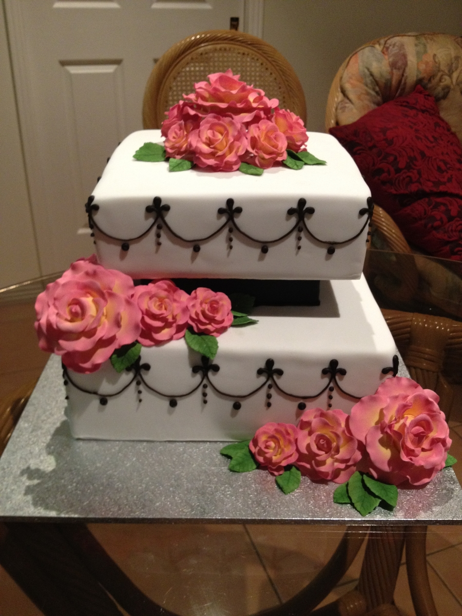 Roses And Drop Lines on Cake Central