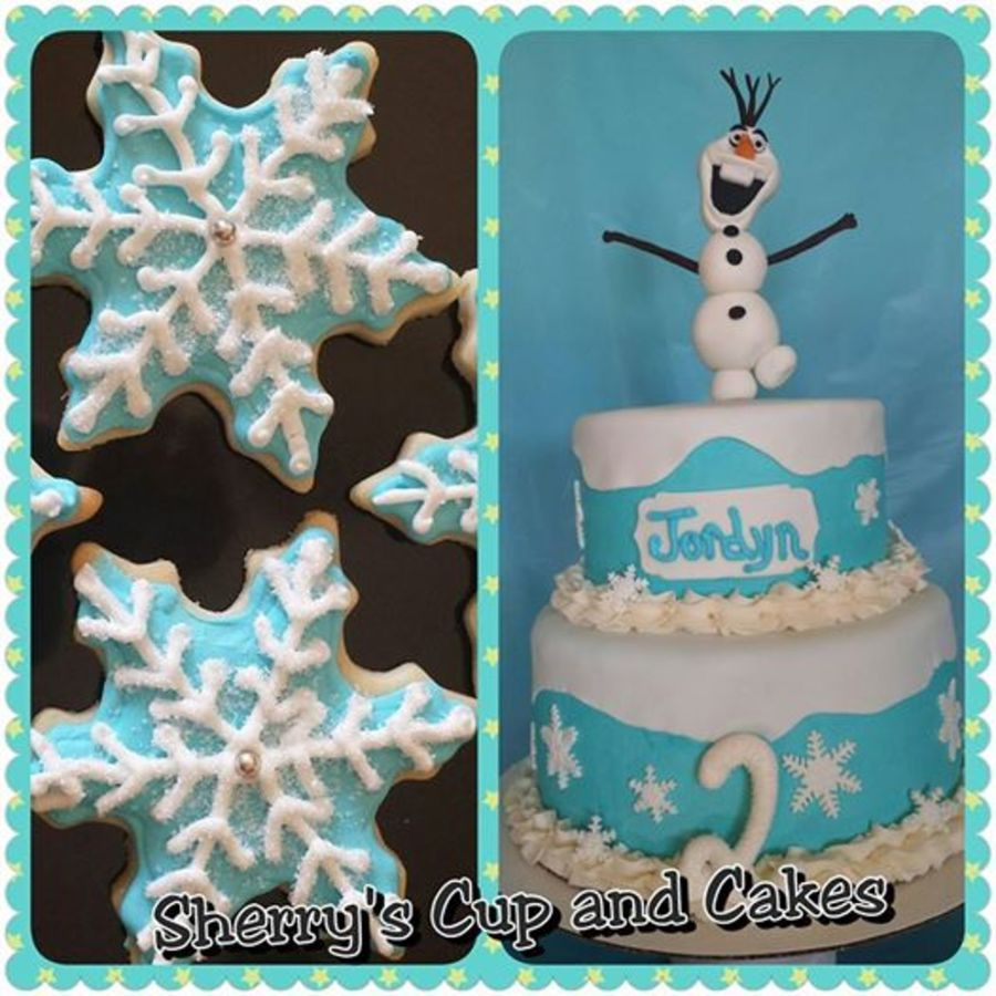 Outstanding Snow Flake Cookies To Go With A Two Tier Frozen Theme Olaf Funny Birthday Cards Online Alyptdamsfinfo