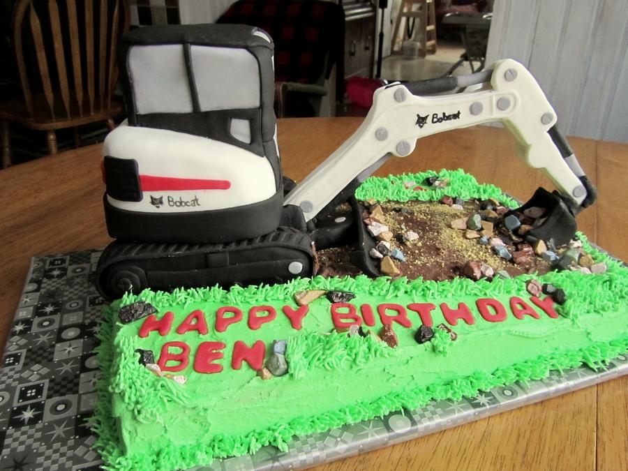 Bobcat Excavator Birthday Cake CakeCentralcom