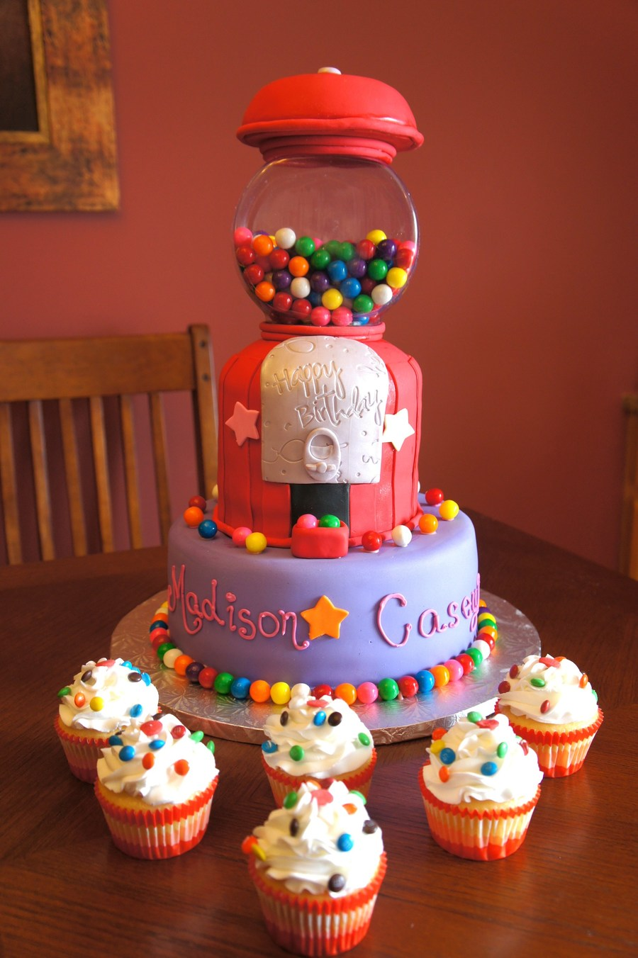Gumball Machine Cake Both Tiers Are Yellow Cake With Chocolate Buttercream Filling on Cake Central