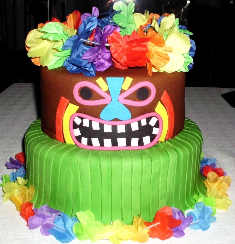 Hawaiian Theme Tiki Cake