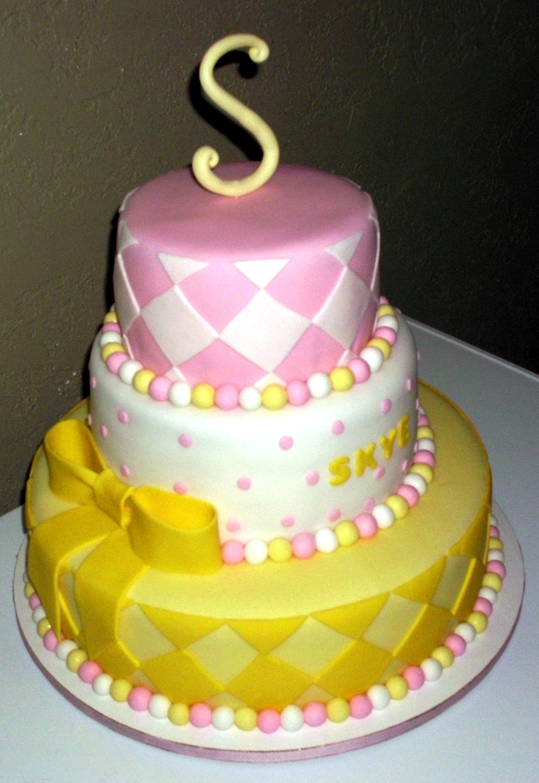 Pink White Yellow Babyshower Cake Cakecentralcom