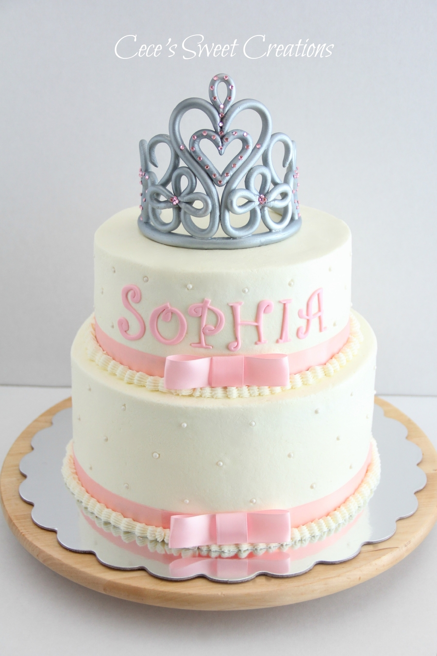 2 Tier Buttercream Princess Baby Shower Cake. Tiara Was Freestyle And Made  From MMF And Gum Paste. Thank You For Looking U003c3