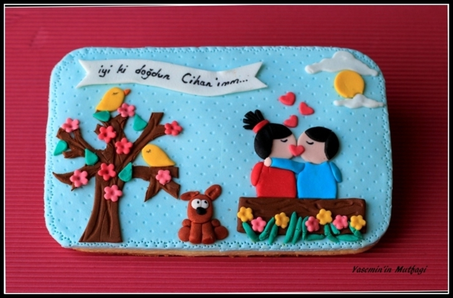 Big Cookie Decoration For Lovers on Cake Central