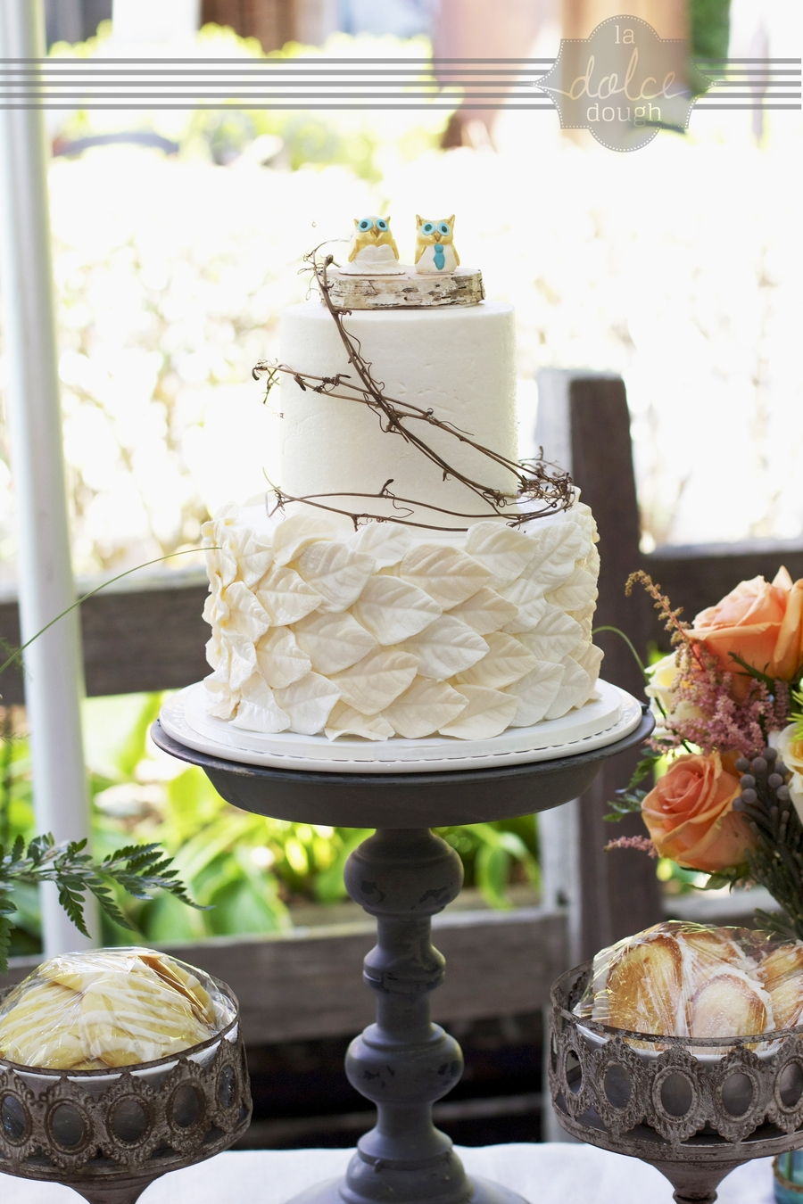 Ivory Leaf Wedding Cake With Grapevine Birch And Ceramic Owl Cake
