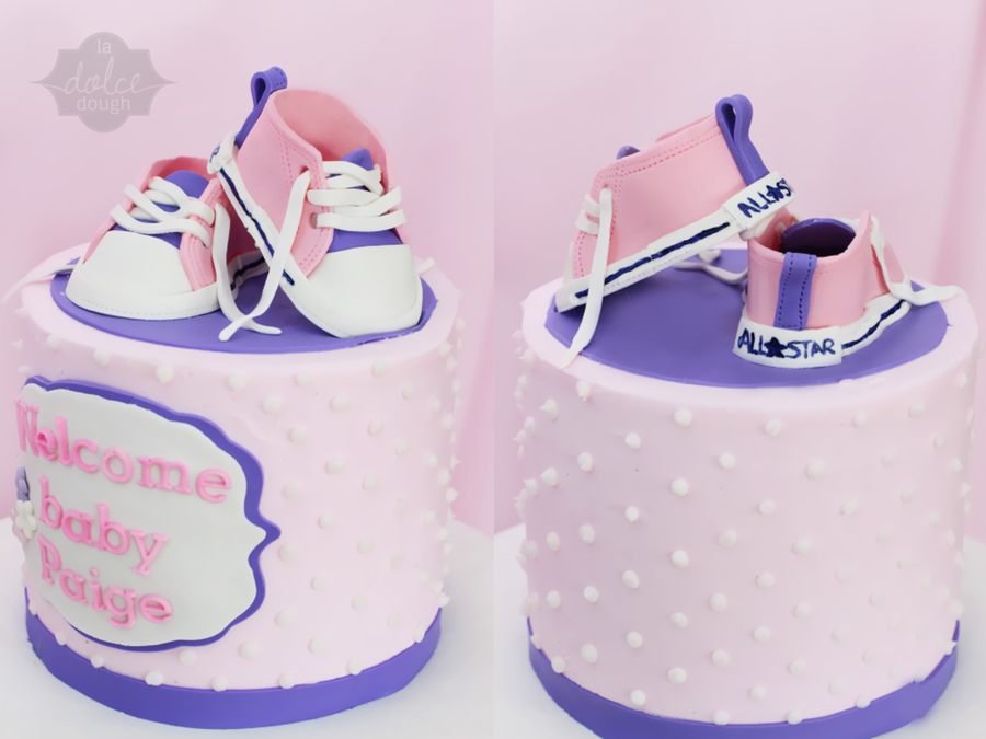 b7e483029f2105 Pink And Purple Baby Shower Cake With Converse Inspired Baby Shoes -  CakeCentral.com