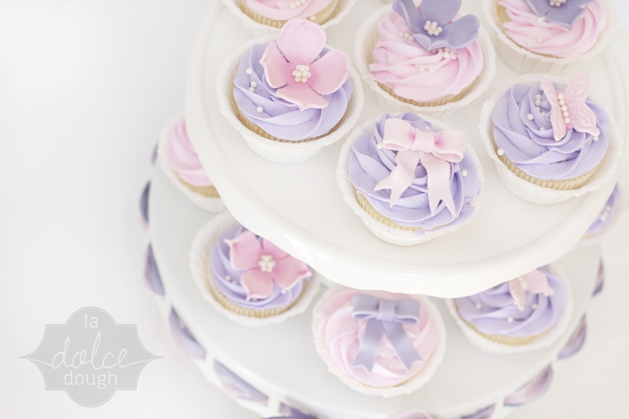 flower pink and purple cupcakes cakecentralcom