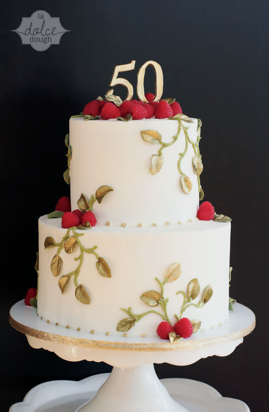 Gold Leaves Cake Decoration : Gold Leaf Raspberry Vine Anniversary Cake - CakeCentral.com