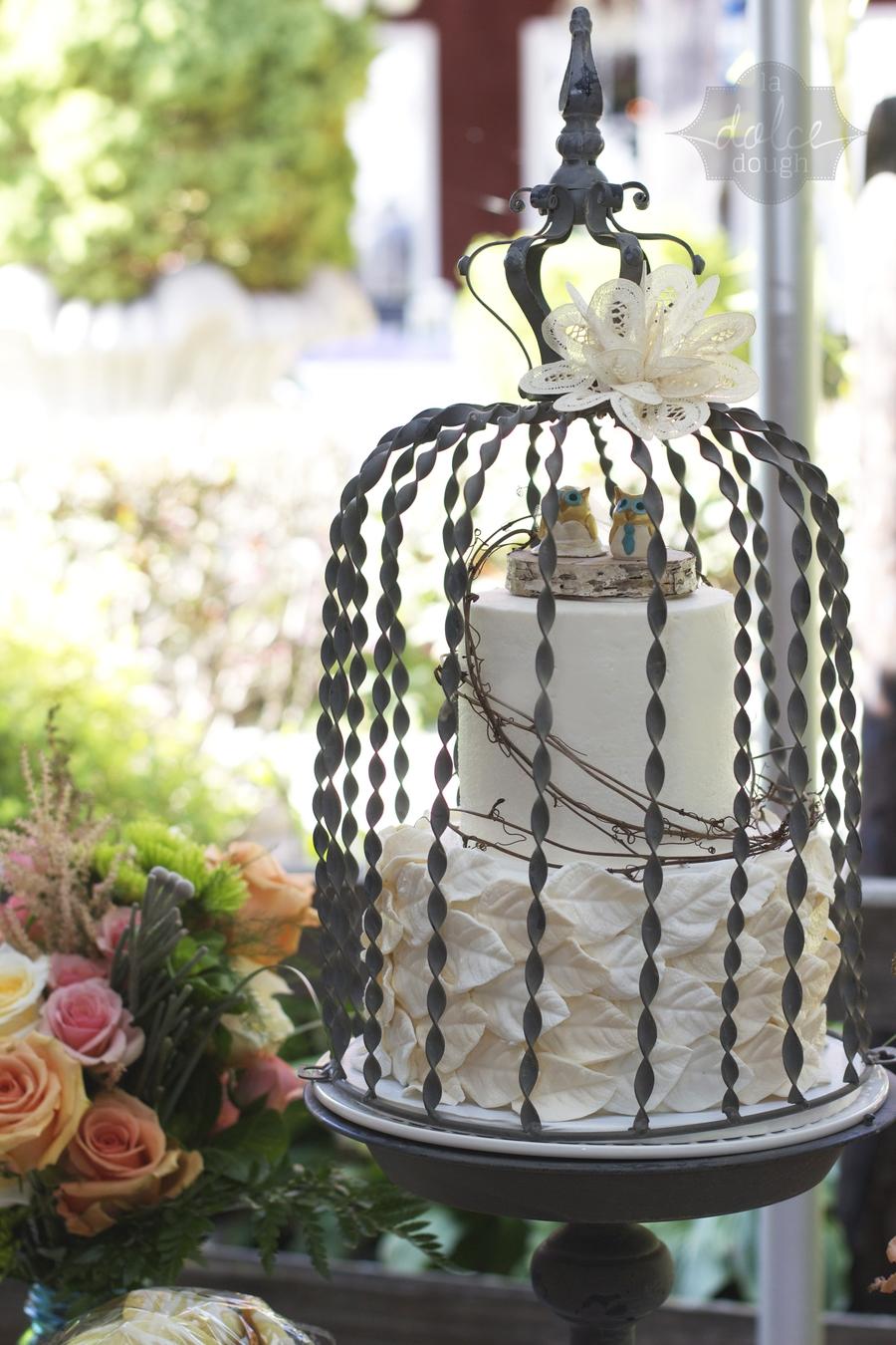 Ivory Leaf Wedding Cake With Grapevine Birch And Ceramic