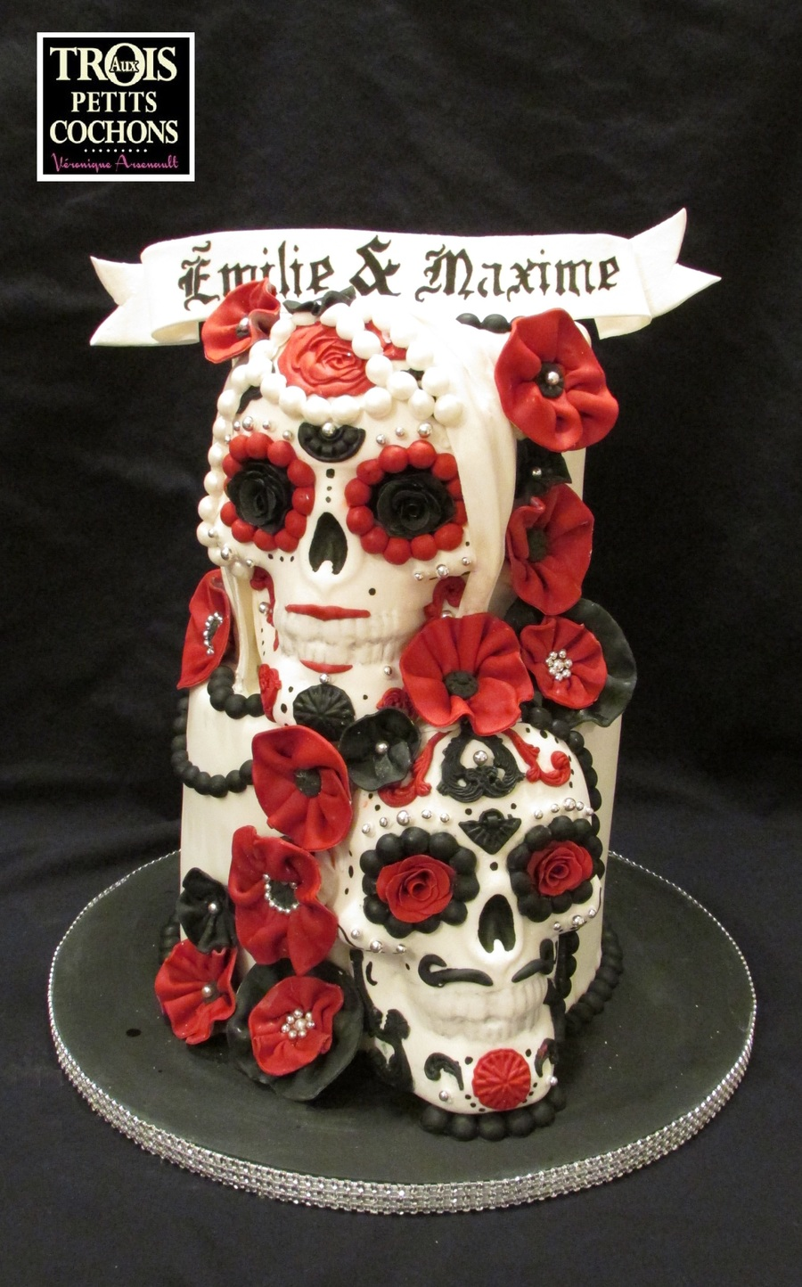 "A Skull Wedding Cake A wedding cake with a ""mexican skull"""