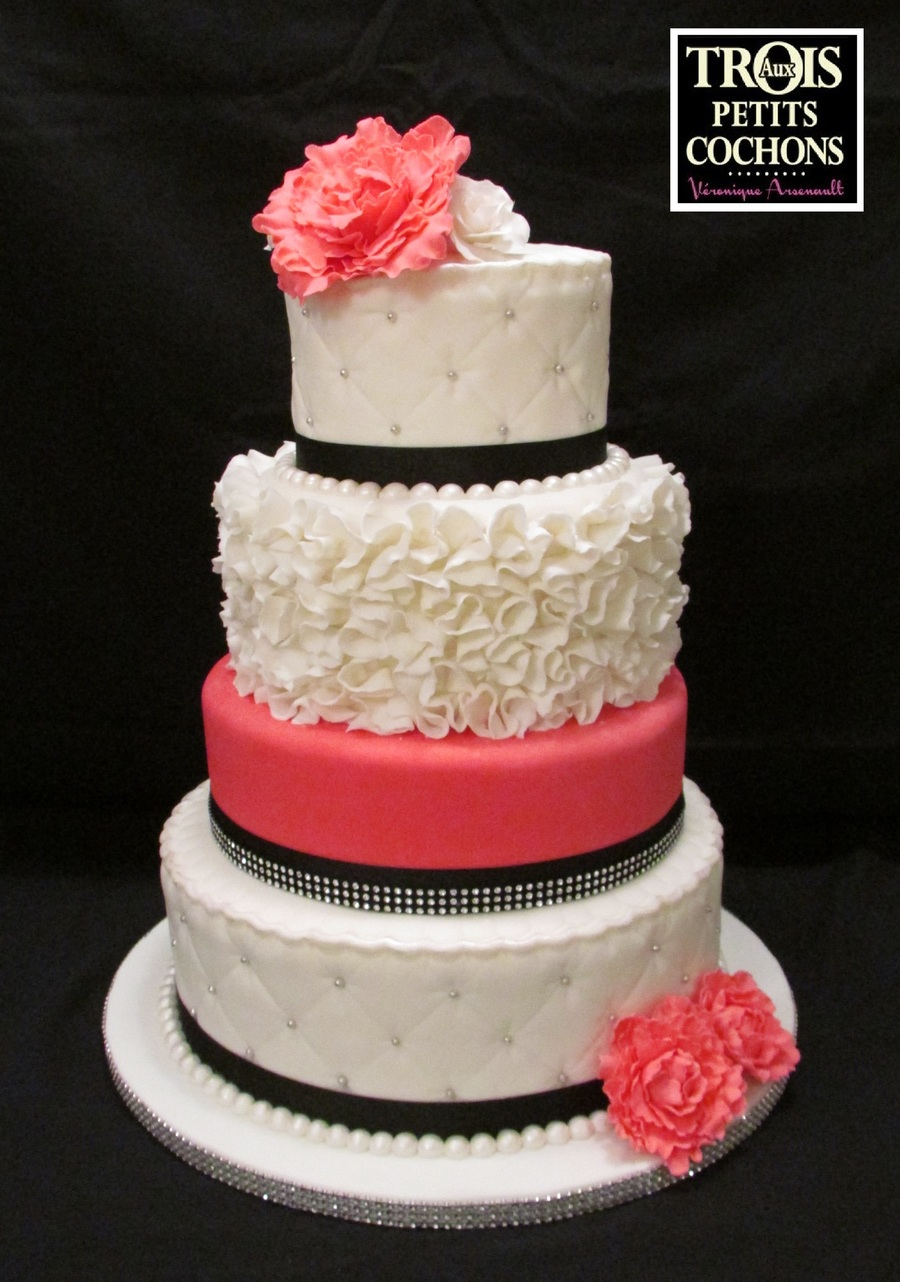 Simple Wedding Cake Dark Red