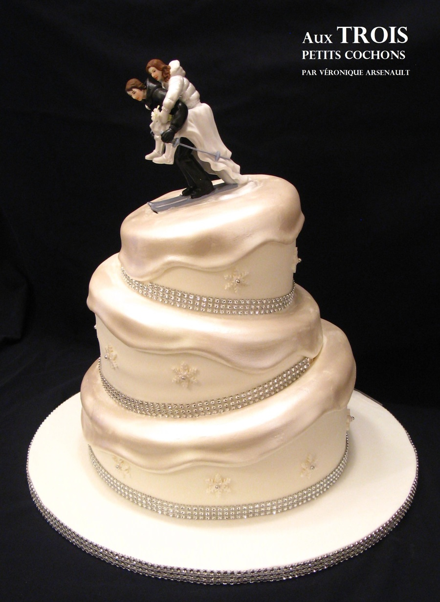 Winter Skiing Wedding Cake  on Cake Central