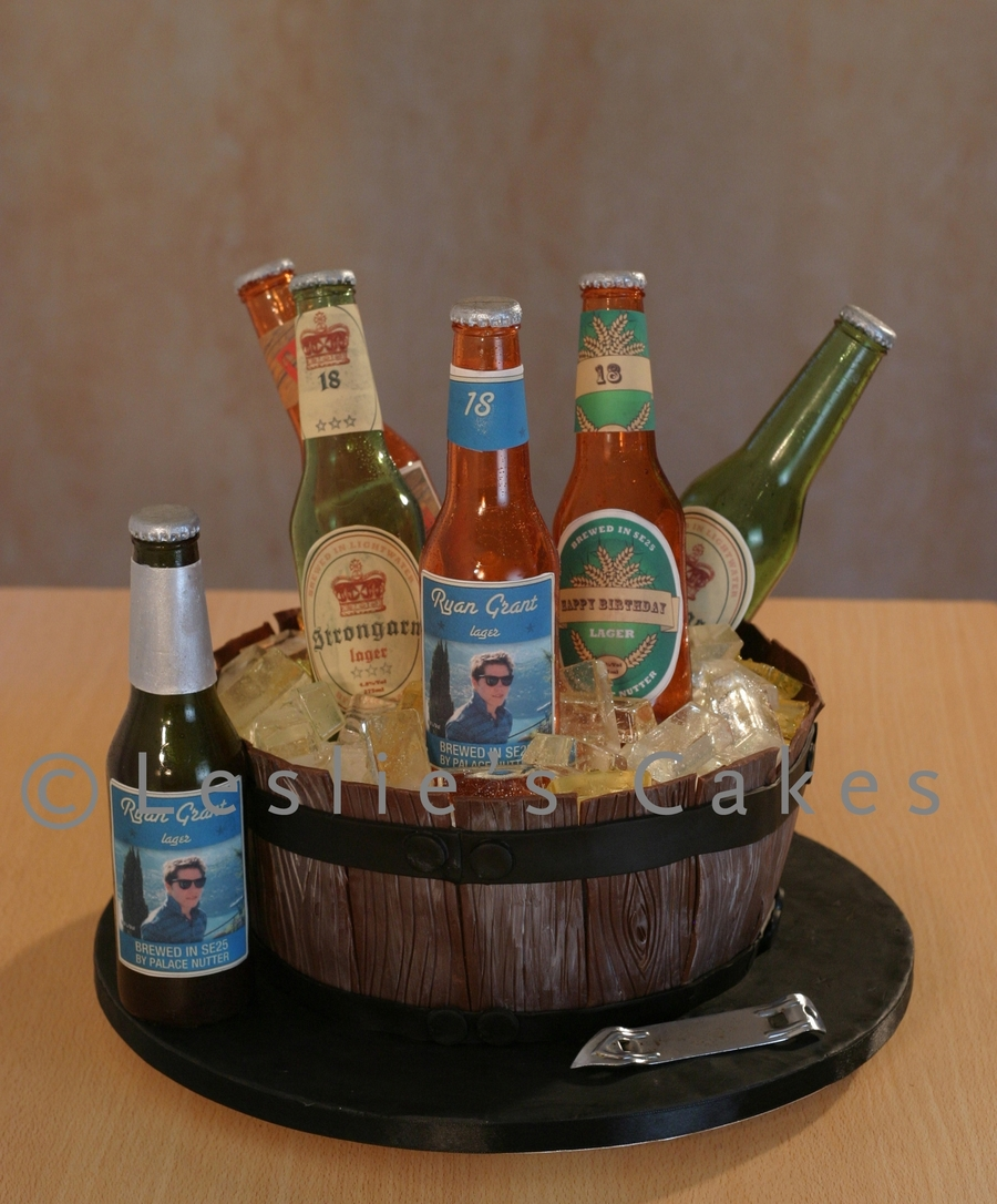 Beer Barrel Cake With Sugar Bottles on Cake Central