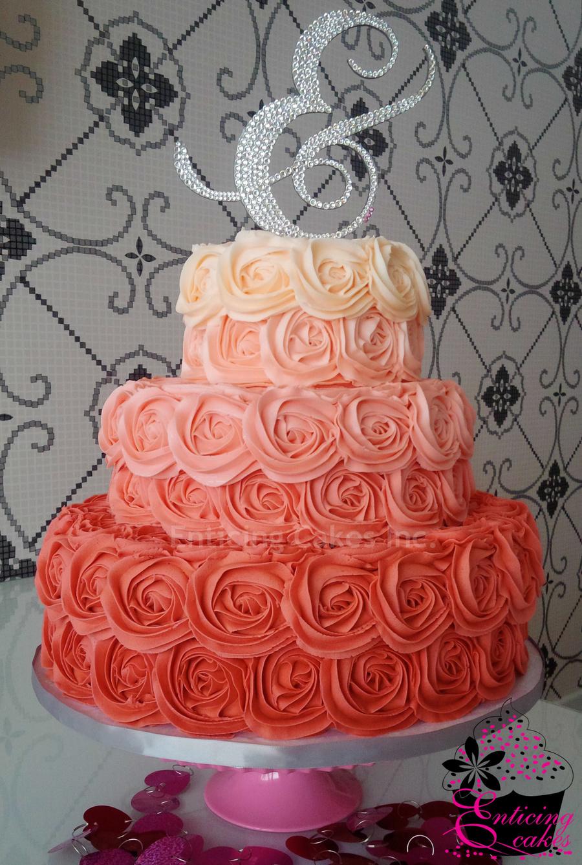 Ombre Rosette Wedding Cake Cakecentral Com