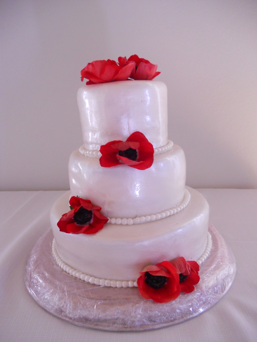 Poppy Wedding Cake on Cake Central