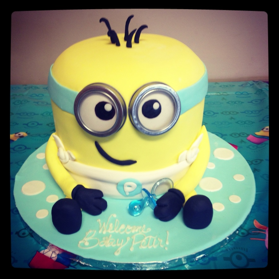 Minion Dave Baby Shower Cake First Time Covering A Double Barrel