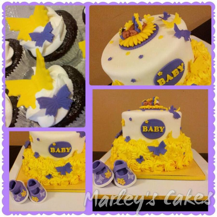 Yellow And Purple Butterfly Themed Baby Shower Cake With Buttercream  Rosettes On Cake Central